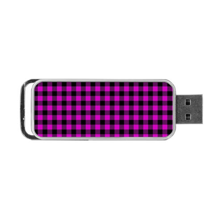 Lumberjack Fabric Pattern Pink Black Portable USB Flash (Two Sides)