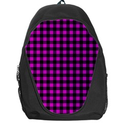 Lumberjack Fabric Pattern Pink Black Backpack Bag