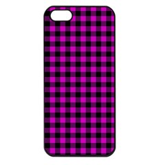 Lumberjack Fabric Pattern Pink Black Apple Iphone 5 Seamless Case (black) by EDDArt