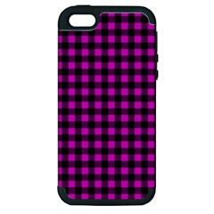 Lumberjack Fabric Pattern Pink Black Apple Iphone 5 Hardshell Case (pc+silicone) by EDDArt