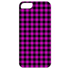 Lumberjack Fabric Pattern Pink Black Apple Iphone 5 Classic Hardshell Case by EDDArt