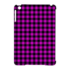 Lumberjack Fabric Pattern Pink Black Apple Ipad Mini Hardshell Case (compatible With Smart Cover)
