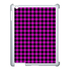 Lumberjack Fabric Pattern Pink Black Apple Ipad 3/4 Case (white) by EDDArt