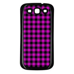 Lumberjack Fabric Pattern Pink Black Samsung Galaxy S3 Back Case (black)