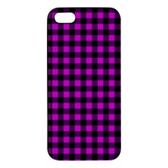 Lumberjack Fabric Pattern Pink Black Iphone 5s/ Se Premium Hardshell Case by EDDArt