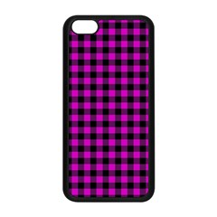 Lumberjack Fabric Pattern Pink Black Apple Iphone 5c Seamless Case (black)