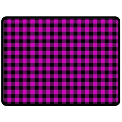Lumberjack Fabric Pattern Pink Black Double Sided Fleece Blanket (large)