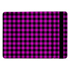 Lumberjack Fabric Pattern Pink Black Samsung Galaxy Tab Pro 12 2  Flip Case by EDDArt