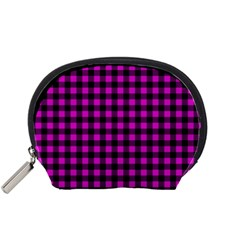 Lumberjack Fabric Pattern Pink Black Accessory Pouches (small)