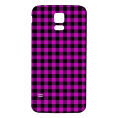 Lumberjack Fabric Pattern Pink Black Samsung Galaxy S5 Back Case (white)