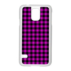 Lumberjack Fabric Pattern Pink Black Samsung Galaxy S5 Case (white) by EDDArt