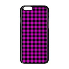 Lumberjack Fabric Pattern Pink Black Apple Iphone 6/6s Black Enamel Case by EDDArt