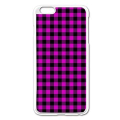 Lumberjack Fabric Pattern Pink Black Apple Iphone 6 Plus/6s Plus Enamel White Case