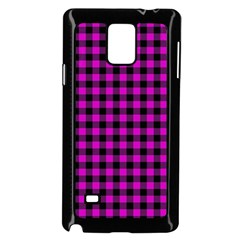 Lumberjack Fabric Pattern Pink Black Samsung Galaxy Note 4 Case (black)