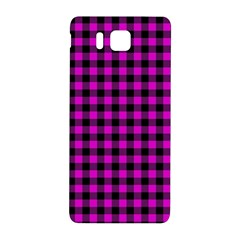 Lumberjack Fabric Pattern Pink Black Samsung Galaxy Alpha Hardshell Back Case by EDDArt