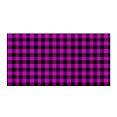 Lumberjack Fabric Pattern Pink Black Satin Wrap by EDDArt