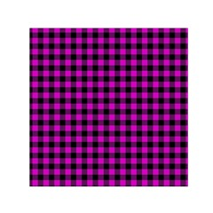 Lumberjack Fabric Pattern Pink Black Small Satin Scarf (square) by EDDArt