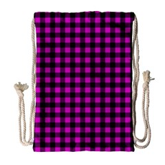 Lumberjack Fabric Pattern Pink Black Drawstring Bag (large) by EDDArt
