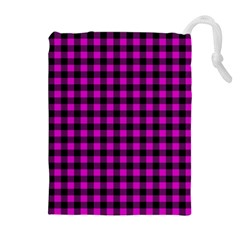 Lumberjack Fabric Pattern Pink Black Drawstring Pouches (extra Large) by EDDArt