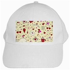Valentinstag Love Hearts Pattern Red Yellow White Cap