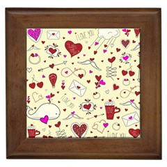 Valentinstag Love Hearts Pattern Red Yellow Framed Tiles
