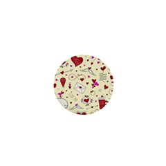 Valentinstag Love Hearts Pattern Red Yellow 1  Mini Buttons by EDDArt