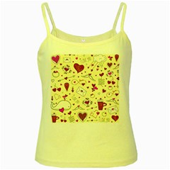 Valentinstag Love Hearts Pattern Red Yellow Yellow Spaghetti Tank