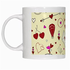 Valentinstag Love Hearts Pattern Red Yellow White Mugs by EDDArt