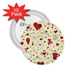 Valentinstag Love Hearts Pattern Red Yellow 2 25  Buttons (10 Pack)  by EDDArt