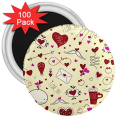 Valentinstag Love Hearts Pattern Red Yellow 3  Magnets (100 Pack) by EDDArt