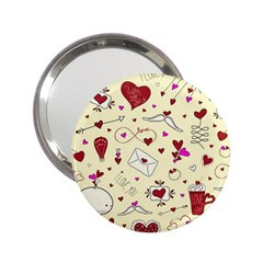 Valentinstag Love Hearts Pattern Red Yellow 2 25  Handbag Mirrors by EDDArt