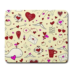 Valentinstag Love Hearts Pattern Red Yellow Large Mousepads by EDDArt