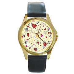 Valentinstag Love Hearts Pattern Red Yellow Round Gold Metal Watch by EDDArt