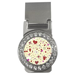 Valentinstag Love Hearts Pattern Red Yellow Money Clips (cz)  by EDDArt