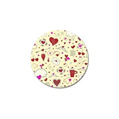 Valentinstag Love Hearts Pattern Red Yellow Golf Ball Marker by EDDArt