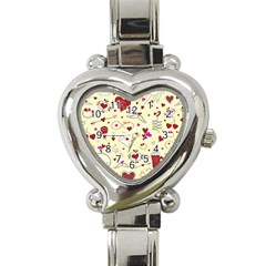Valentinstag Love Hearts Pattern Red Yellow Heart Italian Charm Watch by EDDArt