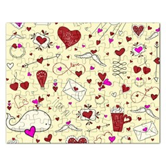 Valentinstag Love Hearts Pattern Red Yellow Rectangular Jigsaw Puzzl by EDDArt
