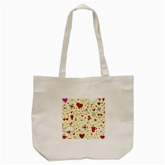 Valentinstag Love Hearts Pattern Red Yellow Tote Bag (cream) by EDDArt