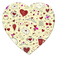 Valentinstag Love Hearts Pattern Red Yellow Jigsaw Puzzle (heart) by EDDArt