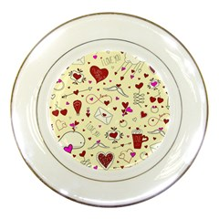 Valentinstag Love Hearts Pattern Red Yellow Porcelain Plates by EDDArt