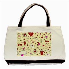 Valentinstag Love Hearts Pattern Red Yellow Basic Tote Bag by EDDArt