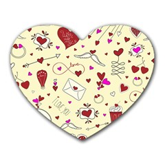 Valentinstag Love Hearts Pattern Red Yellow Heart Mousepads by EDDArt