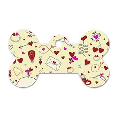 Valentinstag Love Hearts Pattern Red Yellow Dog Tag Bone (one Side) by EDDArt