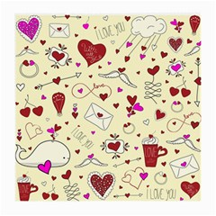 Valentinstag Love Hearts Pattern Red Yellow Medium Glasses Cloth by EDDArt