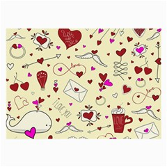 Valentinstag Love Hearts Pattern Red Yellow Large Glasses Cloth (2 Side) by EDDArt