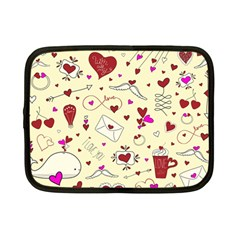 Valentinstag Love Hearts Pattern Red Yellow Netbook Case (small)  by EDDArt