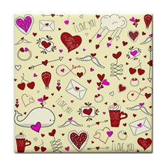 Valentinstag Love Hearts Pattern Red Yellow Face Towel by EDDArt