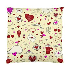 Valentinstag Love Hearts Pattern Red Yellow Standard Cushion Case (two Sides) by EDDArt