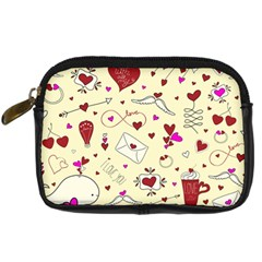 Valentinstag Love Hearts Pattern Red Yellow Digital Camera Cases by EDDArt