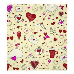 Valentinstag Love Hearts Pattern Red Yellow Shower Curtain 66  X 72  (large)  by EDDArt